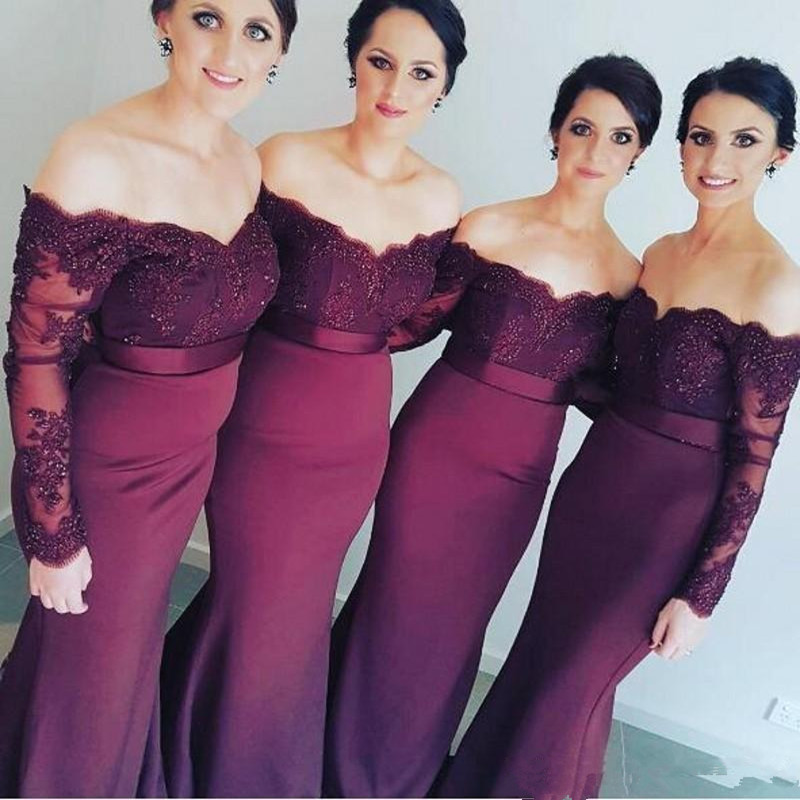 Holievery Lace Appliques Mermaid Off Shoulder Satin   Bridesmaid     Dresses   2020 Long Sleeves Formal Party   Dress   Elegant