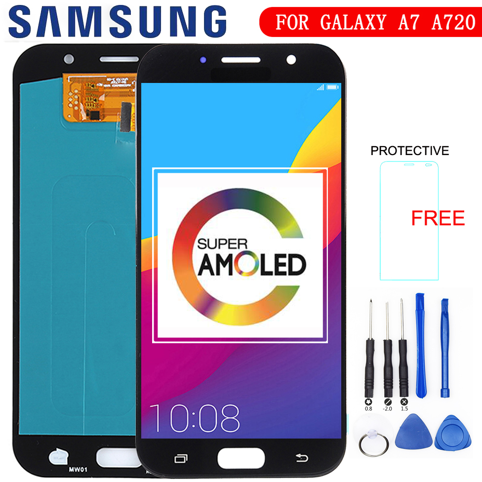 Super AMOLED Phones Display For <font><b>Samsung</b></font> Galaxy A7 2017 <font><b>A720</b></font> A720F A720M LCDs Touch Screen Digitizer Assembly <font><b>LCD</b></font> Replacement image