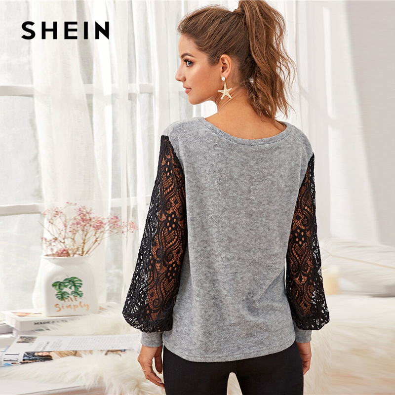 SHEIN Grey Contrast Lace Colorblock Casual Sweater Women 2020 Spring Bishop Sleeve Winter Ladies Basic Sheer Sweaters Tops 2