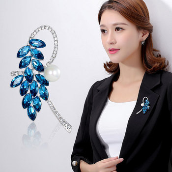 High Quality Dark Blue/Purple/Light Blue Crystal Flower Brooch Hyacinthus orientalis Plant Jewelry Fashion Women Accessory image