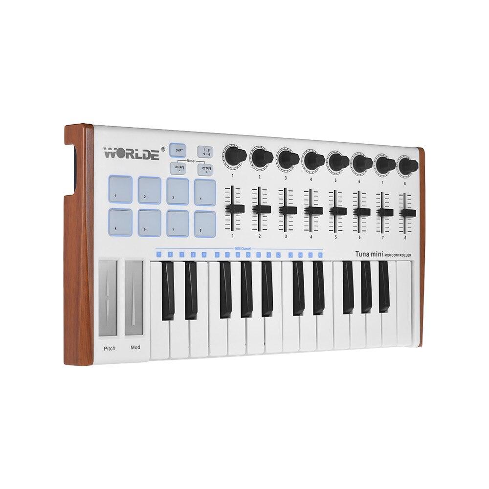 WORLDE thon MINI contrôleur de clavier MIDI USB Ultra-Portable à 25 touches 8 tampons de déclenchement rétroéclairés rvb avec prise de pédale 6.35mm