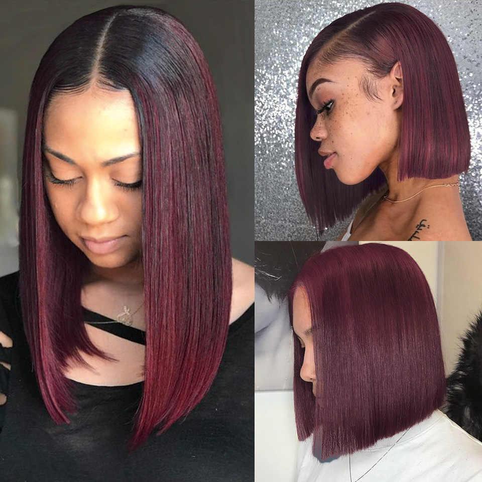Bob curto peruca brasileira em linha reta remy perucas de cabelo humano 150% densidade 13*4 pré arrancadas borgonha vermelho 99j bob frente do laço perucas