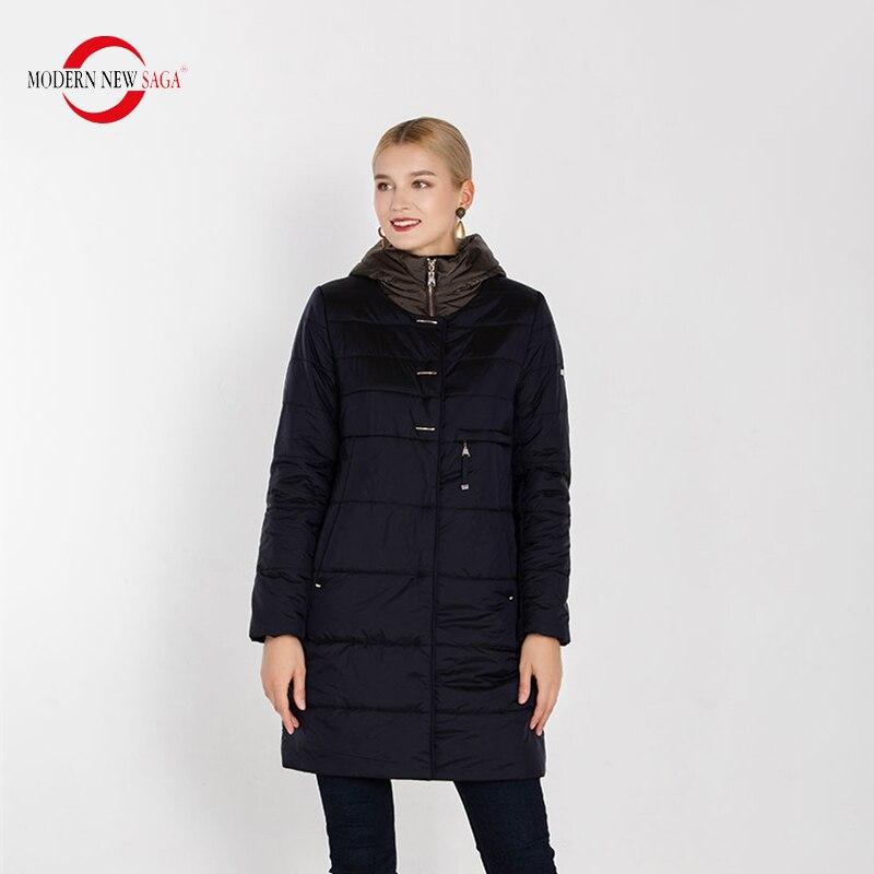 Image 2 - MODERN NEW SAGA 2020 Autumn Women Coat Hooded Cotton Padded Coat  Winter Long Jacket Ladies Parka Plus Size Winter Coat WomenParkas   -