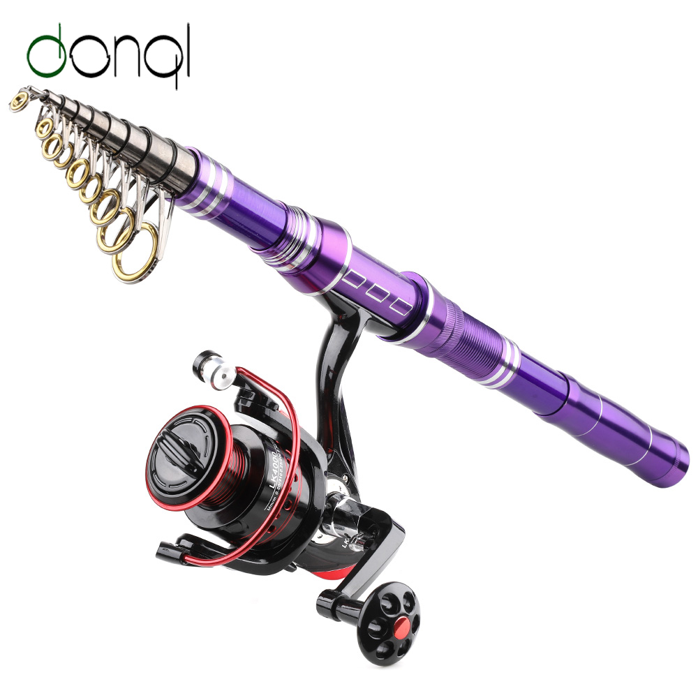 DONQL Spinning-Rod-Reel Combo Telescopic Fishing-Coil Carp-Feeder 13-Ball-Bearing And title=