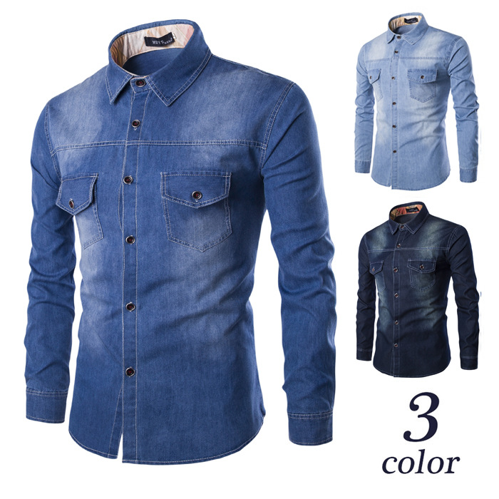 New Style Western Style Ultra-Large Size MEN'S Denim Shirts Chest Dual Pocket Slim Fit Long-sleeved Shirt C993