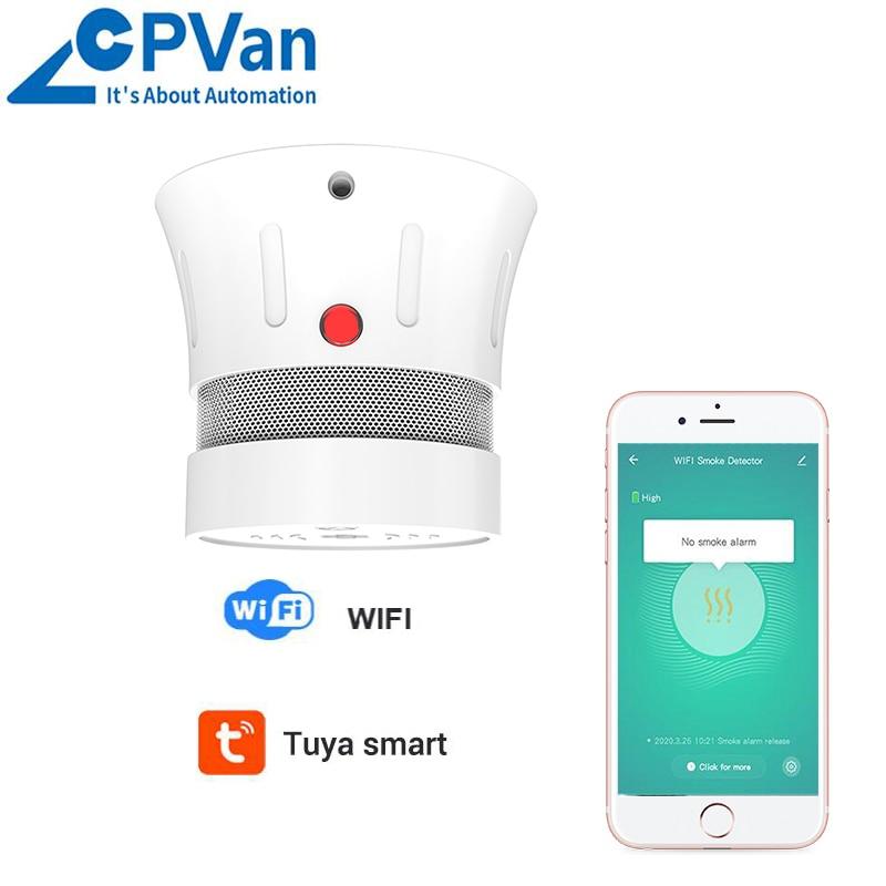 CPVan New Tuya WiFi Smoke Detector Over 5 Years Battery Life Smoke Alarm Detector EN14604 Listed CE Certified Include Battery