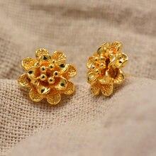 Дубай Нигерия цветочные пуговицы эфиопские золотые цветные серьги