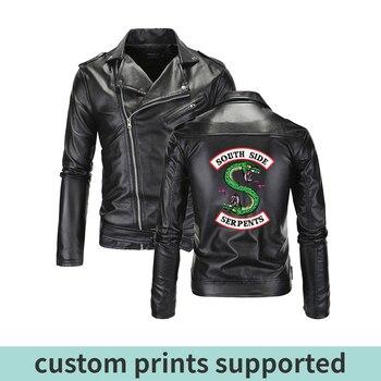 Riverdale Leather Jackets Men Southside Serpents Turn-down collar Riverdale Streetwear Leather Brand south side serpents