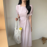 South Korea French Elegant Square Collar Pattern Bandage Cloth Puff Sleeve Dress