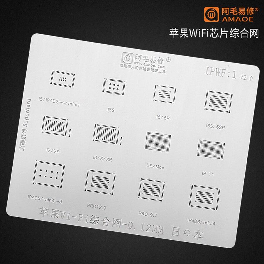 Amaoe WIFI IC BGA Stencil for iPhone 5S 6 6S 6SP 7 8 8P X 11 xs iPad 2-6 Pro 9.7/12.9 Mini 1-4 Direct Heating Reballing Template 1