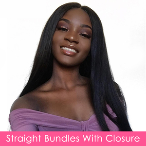 Image 5 - Brazilian Straight Bundles With Closure Aircabin 100% Remy Human Hair Weave Bundles Extensions Swiss 4x4 Lace Frontal Deep Part