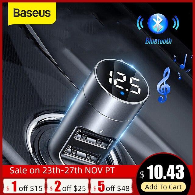Baseus 3.1A 차량용 충전기 블루투스 5.0 어댑터 FM 송신기 무선 오디오 수신기 아이폰에 대한 휴대 전화 충전기 삼성