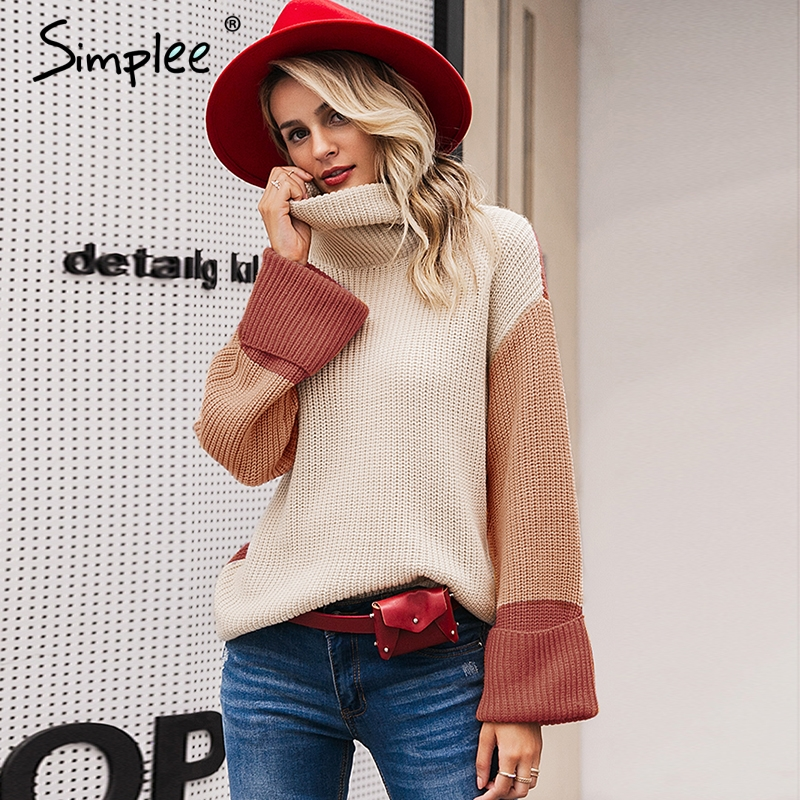 Simplee Patchwork turtleneck knitted sweaters female Casual long sleeve korean pullover jumper Women streetwear ladies sweater 10
