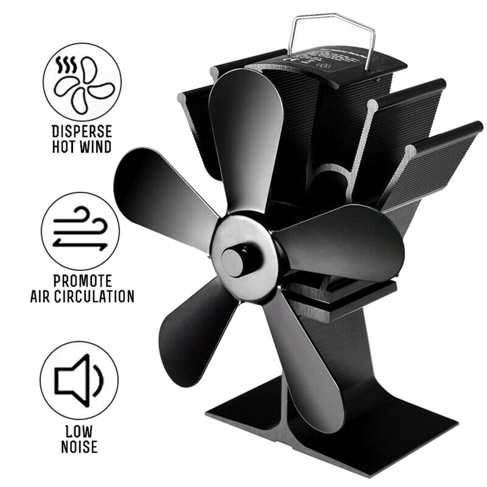 Aluminum Alloy Stove Fan Blade Heat Powered 5 Blades Stove Fan Winter Home Wood Log Burning Heat Distribution Silent Stove Fan