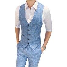 Suit vest + suit pants two-piece Spring and summer mens solid color slim  Mens business casual