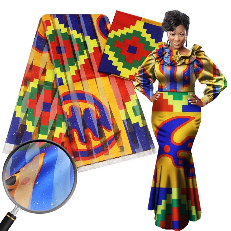 Förderung 2 + 4yards satin seide mit ORGANZA stoff weiche afrikanischen stoff für kleid ankara stoff afrikanischen wachs druckt stoff niger