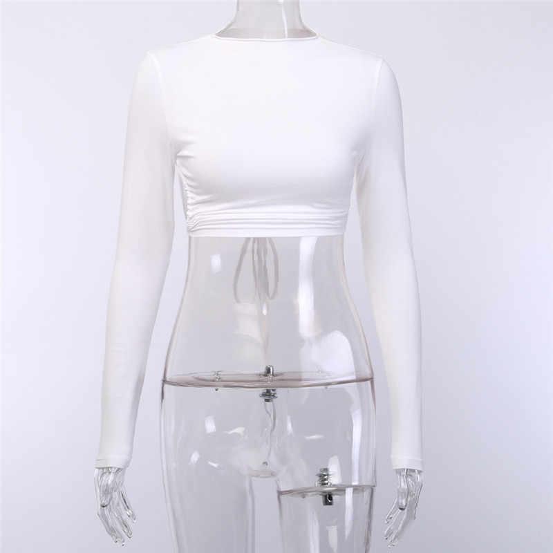 2019 moda kobiety z powrotem otwarty krzyż bluzka koszula topy pani na co dzień obcisłe sportowe z długim rękawem Sexy Backless stałe joga T-Shirt topy