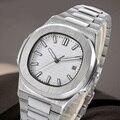 41mm Horloge Mannen Automatische mechanische horloge Waterdicht lichtgevende stalen horloge NAUTILUS rvs case stalen armband SN-1