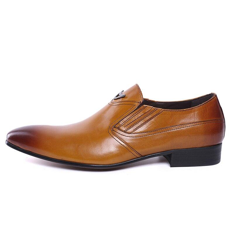 Image 4 - FELIX CHU Italian Style Black Yellow Genuine Leather Men Loafer  Slip On Formal Shoes Wedding Party Pointed Toe Male Dress Shoeslip  onslip on loafersslip on men