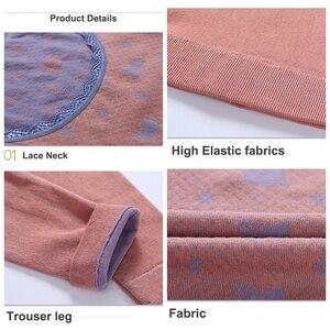 Image 5 - Conjunto de Roupa Interior Térmica 2019 Moda Slim Floral das mulheres Ultra Macio Roupa Interior Térmica Long Johns Conjuntos de Pijama Sleepwear Lingerie