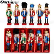 OurWarm 6Pcs Christmas New Year Gift Nutcracker Mini Wooden Soldiers Band Doll Xmas Tree Hanging Pendant 2019 Desktop Decoration