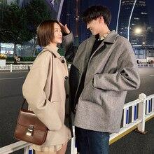 Winter New Woolen Coat Men Fashion Solid Color Casual Jacket Long Man Streetwear Wild Loose Couple Overcoat
