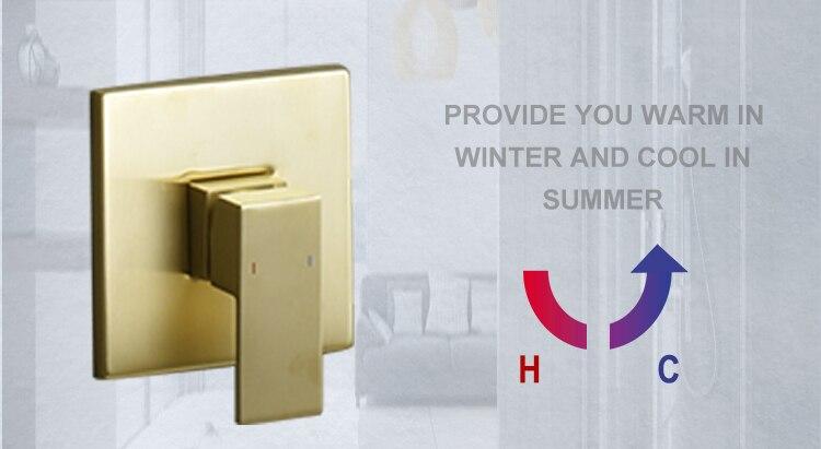 "H2f9a518e284b429cabfe9d372f6dcb05Y Brushed Gold Rain Shower Head Bath Faucet Set 8/10/12"" Ceiling Mounted Bathroom Shower Heads Single Function Shower Trim Kit"