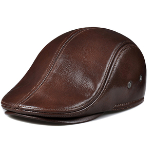 Image 1 - Fashion sheepskin cadet for man genuine leather mens Baret Cowhide Flat Cap Cabby Hat Vintage Newsboy Ivy Driving cap