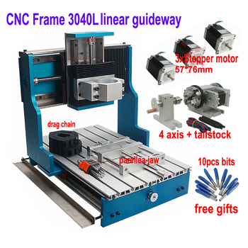 DIY CNC Router 3040 Metal Frame linear guideway Stepper motor Nema23 CNC Wood Router Craved On Metal Pcb Milling Machine 4 axis screw with linear guide hgr15 hpv6 linear module nema23 2 8a 56mm stepper motor same