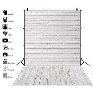 Изготовленный на заказ серый белый кирпич стена деревянный пол ребенок торт разбивать портрет фотография фон фотостудия