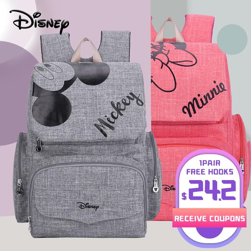 Disney 1Pair Free Hooks Mickey Baby Diaper Bags Bolso Maternal Stroller Bag Nappy Backpack Maternity Bag Maternal Backpack Mommy