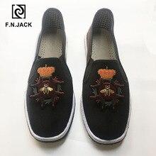 F.N.JACK chaussures pour hommes, chaussures de conduite légères, mocassins de randonnée en tissu décontracté coton, simples, confortables, pour hommes sans lacet