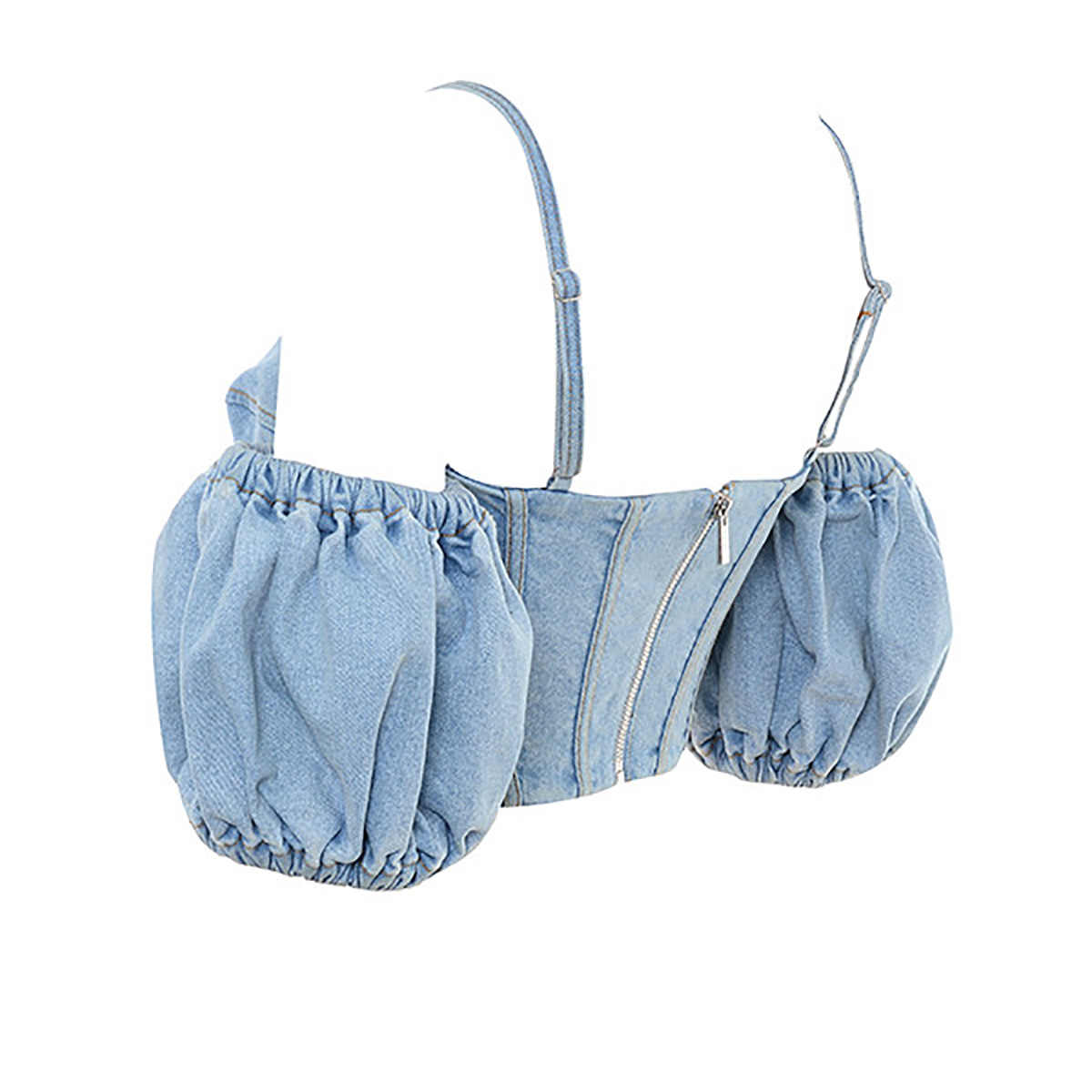 Topy dla kobiet koronka się otworzyć na ramię stałe dżinsy kamizelka bez pleców Sexy pasek Crop topy Puff rękaw Tank Tops