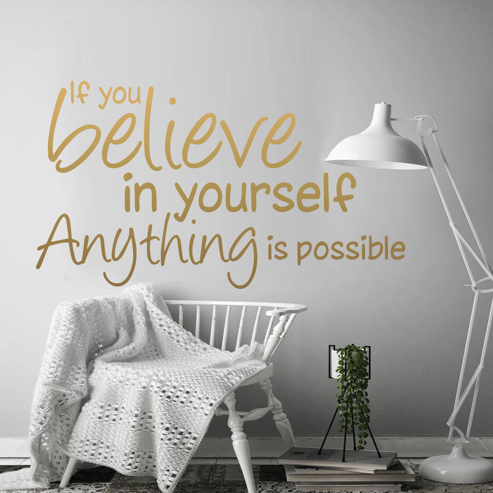 Motivation Believe In Yourself Quotes Vinyl Wall Stickers For Office Decoration Mural Kids Bedroom Living Room House Decor image