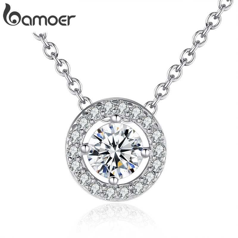 BAMOER najnowszy naszyjnik elegancki dla kobiet z okrągłym CZ cyrkonia-biżuteria 0.6CM moc naszyjnik biżuteria ślubna YIN039