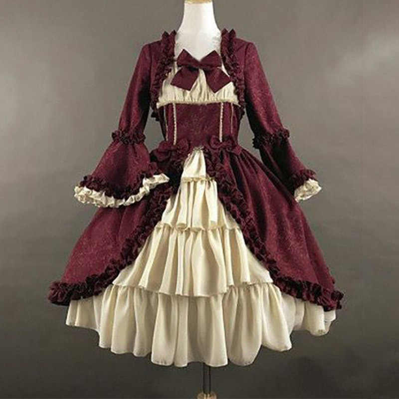 Sweet lolita dress Women lace bowknot fly sleeve high waist victorian dress kawaii girl gothic lolita