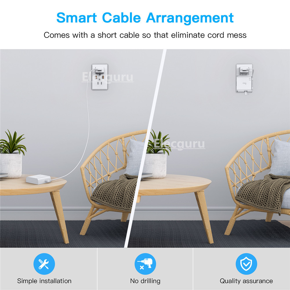 sturdy wall mount holder with a short cable for ring bridge stylish cable arrangement bracket for ring smart lighting bridge