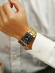 Мужские наручные часы WWOOR, золотые, черные, квадратные кварцевые часы, водонепроницаемые, 2019