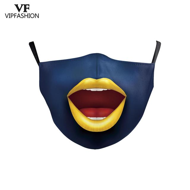 VIP FASHION Cute Kid's Mask Cartoon Clown Animal Face Fabric Masks Funny Grimace print Mouth-muffle Reusable Washable Masks 2