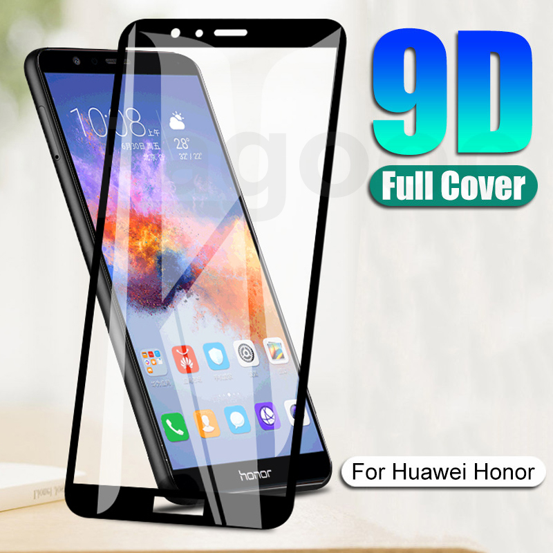 9D Full Tempered Glass on For Huawei Honor 7X 7S 7A 7C Pro 8X 8A 8C 8S 9X 9A 9S 10i 20i Screen Prote