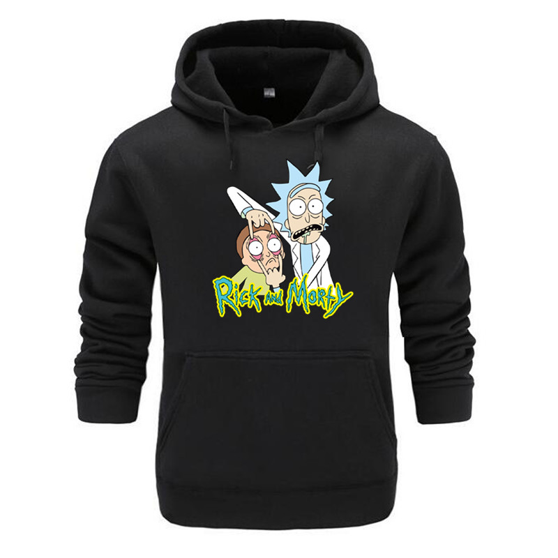 Hoodies Men Brand Autumn Rick Morty Long Sleeve Solid Color Hooded Sweatshirt Mens Hoodie Tracksuit Sweat Coat Casual Sportswe