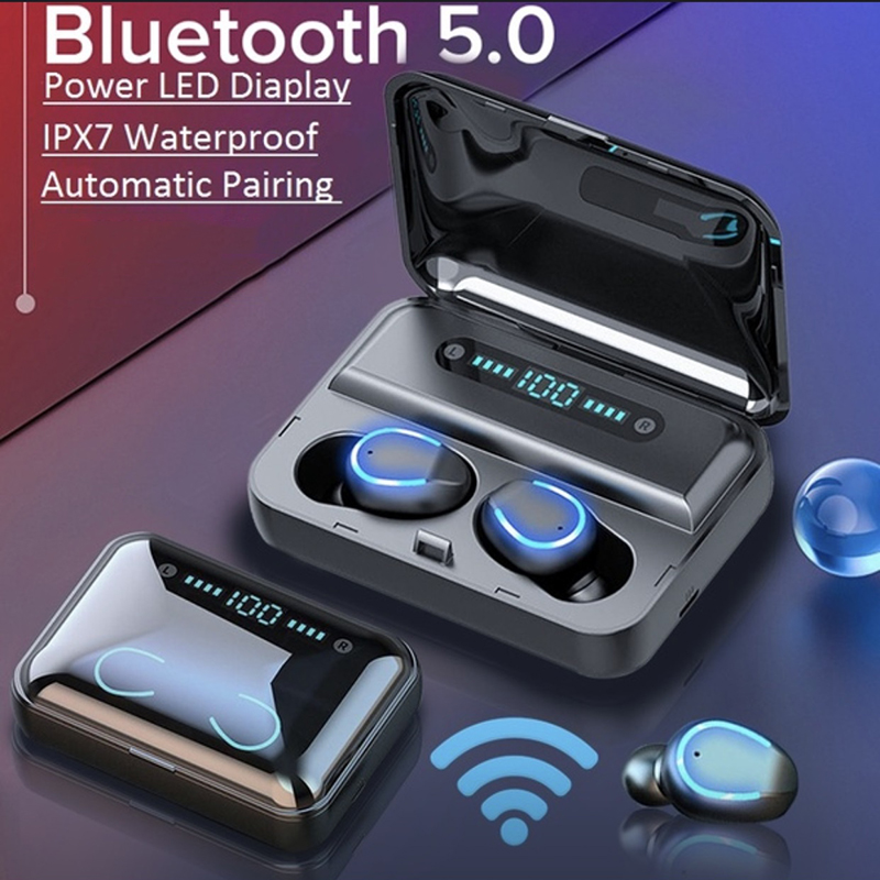8D HiFi CVC8.0 NoiseCancelling Bluetooth5.0 Earphones TWS Airpods Headphones Deep Bass Sound Cordless Bank Dual Headsets