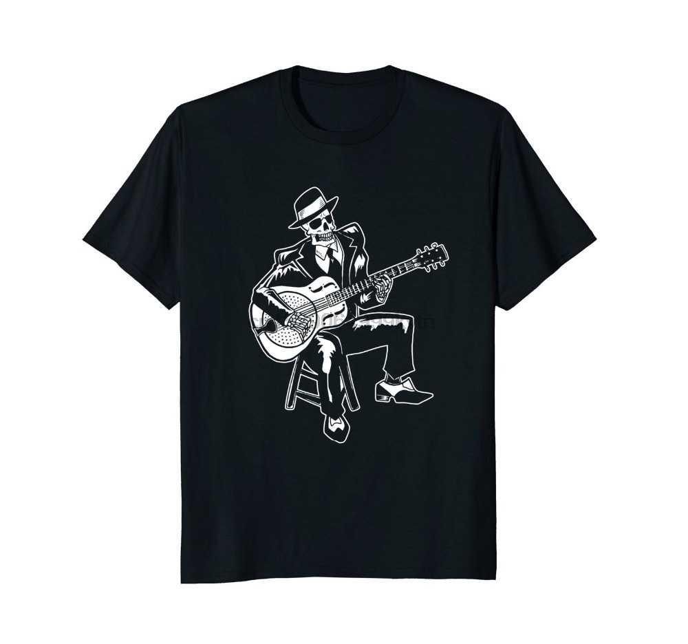 الصيف نمط مطبوعة القطن س الرقبة تي شيرت كم قصير رجال البلوز الموسيقى تي شيرت للرجال الهيكل العظمي Bluesman فيشر تي شيرت