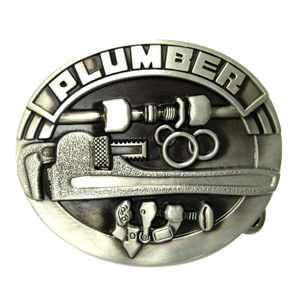 Engraved PLUMBER Saw Tools Men's Belt Buckle For Jean Leather Belt Ornament