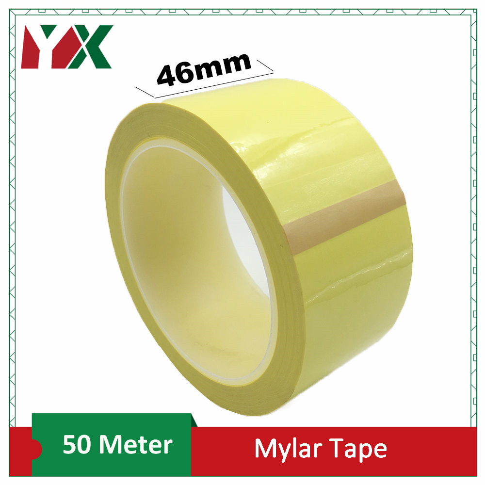 YX 1PCS 46mm Adhesive Insulation Mylar Tape for Transformer, Motor, Capacitor, Coil Wrap, Anti-Flame Yellow 50M/roll