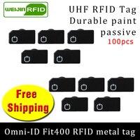 Uhf rfid metal tag omni-id fit400 915m 868mhz estrangeiro higgs3 epc 100 pçs frete grátis durável tinta cartão inteligente passiva rfid tags