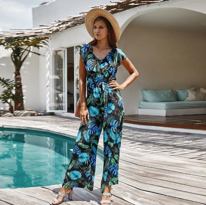 Fashion Overalls For Women Romper Summer Jumpsuit Plus Size V Neck Beachwear Printed Pocket Sashes Jumpsuit Female  CL178