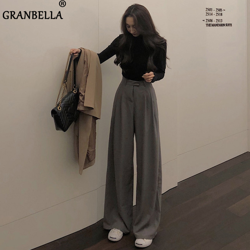 2020 New Korean Straight Pants Plus Size Spring Autumn Loose High Waist Wide Pants For Women OL Vintage Suit Toursers