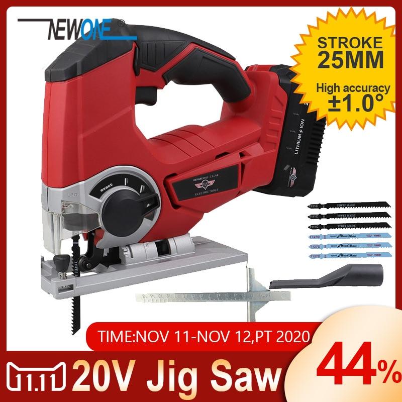 NEWONE 20V Jigsaw Power Tool Cordless Jig Saw With 6 Pcs Blades Wood LED light Adjustable Speed Jigsaw DC Power Tool