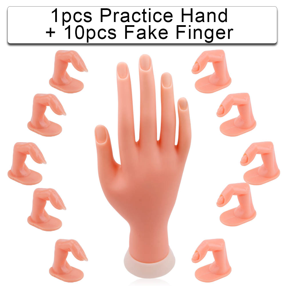 Hand For Manicure Finger Practice Model 5/10pcs False Nails Training Fake Hand Beauty Art Natural Professional Nail Printer Tool